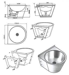 LX3550 Lavabo Professionale  carenato con staffa in acciaio Inox Aisi 304 - finitura satinata