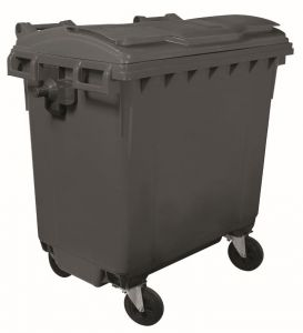 T910770 Grey plastic waste container for outdoor 4 wheels 770 liters GREY without lid