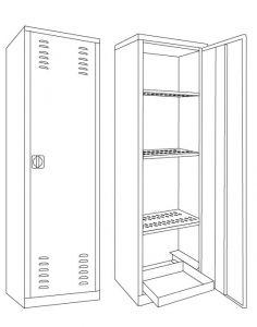 IN-Z.694.10 Gabinetes para plaguicidas plastificados de zinc 60x45x200 H