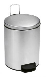T112039 Brushed stainless steel Pedal bin with silent closing lid 3 liters