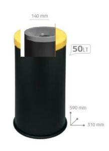 T770014 Papelera antifuego metal negro tapa Gris 50 litros