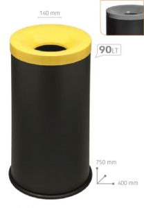 T770024 Papelera antifuego metal negro tapa Gris 90 litros