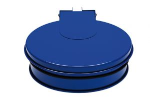 T601011 Soporte para bolsas de basura con tapa de acero Azul