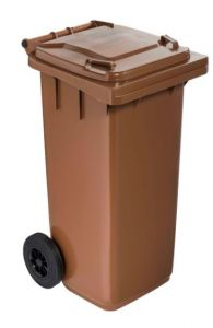 T766614 Brown Plastic waste container for outdoor on 2 wheels 120 liters