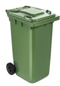 T766623 Green Plastic waste container for outdoor on 2 wheels 240 liters
