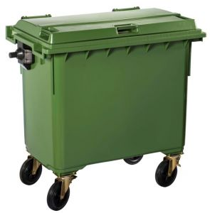 T766643 Green Plastic waste container for outdoor on 4 wheels 660 liters