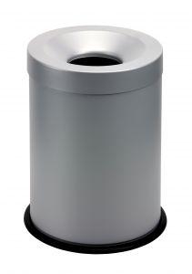 T770002 Grey steel fireproof waste bin 15 liters
