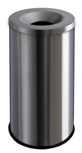 T770020 Brushed stainless steel fireproof paper bin 90 liters