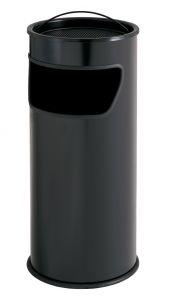 T775011 Papelera-cenicero 25 litros metal negro con arena