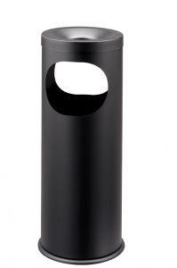 T775021 Papelera-cenicero metal negro Doble apertura 19 litros
