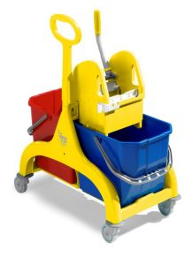 00006185 Nick Tec Double Trolley With Ring Handle - YELLOW FRAME AND STRIPPER