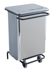 T790650 Brushed Stainless steel Wheeled pedal waste bin 70 liters