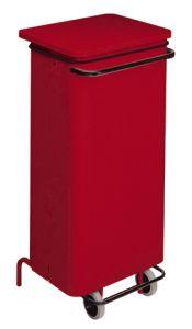 T791227 Contenitore mobile metallo rosso con pedale 110 litri