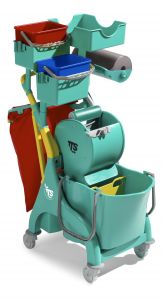 0P066559 Nick Plus 320 trolley with bucket and divider, buckets, storage tray and bag holder