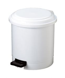 T906503 White Plastic pedal bin 3 liters (multiple 12 pcs)
