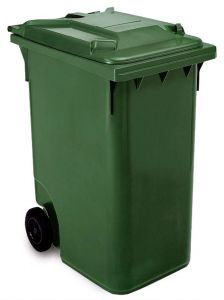 T766633 Green Plastic waste container for outdoor on 2 wheels 360 liters