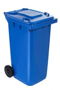 T766622 Blue Plastic waste container for outdoor on 2 wheels 240 liters