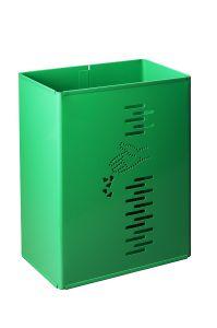 T778022 Corbeille rectangulaire acier vert extérieur 24 litres