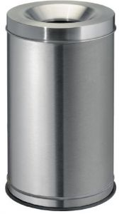 T770030 Brushed stainless steel fireproof paper bin 30 liters