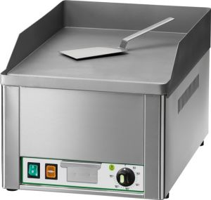 FRY1L Fry top elettrico da banco monofase 3000W piano singolo liscio acciaio sabbiato