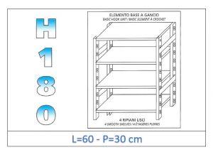 IN-18G4696030B Scaffale a 4 ripiani lisci fissaggio a gancio dim cm 60x30x180h