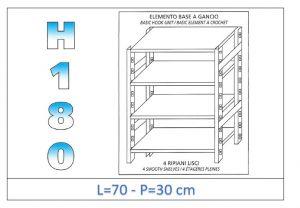 IN-18G4697030B Étagère avec 4 étagères lisses fixation par crochet dim cm 70x30x180h