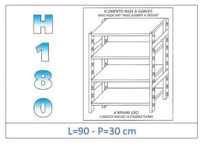 IN-18G4699030B Étagère avec 4 étagères lisses fixation par crochet dim cm 90x30x180h