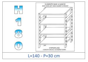 IN-18G46914030B Scaffale a 4 ripiani lisci fissaggio a gancio dim cm 140 x30x180h