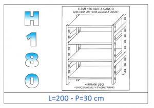 IN-18G46920030B Scaffale a 4 ripiani lisci fissaggio a gancio dim cm 200x30x180h