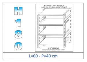 IN-18G4696040B Scaffale a 4 ripiani lisci fissaggio a gancio dim cm 60x40x180h