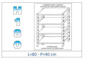 IN-18G4698040B Étagère avec 4 étagères lisses fixation par crochet dim cm 80x40x180h