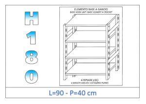 IN-18G4699040B Étagère avec 4 étagères lisses fixation par crochet dim cm 90x40x180h