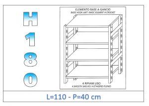 IN-18G46911040B Étagère avec 4 étagères lisses fixation par crochet dim cm 110x40x180h