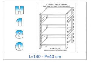 IN-18G46914040B Étagère avec 4 étagères lisses fixation par crochet dim cm 140x40x180h