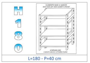 IN-18G46918040B Étagère avec 4 étagères lisses fixation par crochet dim cm 180x40x180h