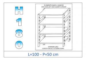 IN-18G46910050B Scaffale a 4 ripiani lisci fissaggio a gancio dim cm 100x50x180h