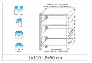 IN-18G46911050B Étagère avec 4 étagères lisses fixation par crochet dim cm 110x50x180h