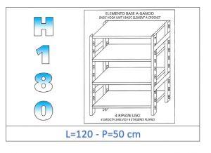 IN-18G46912050B Étagère avec 4 étagères lisses fixation par crochet dim cm 120x50x180h