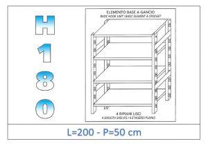 IN-18G46920050B Étagère avec 4 étagères lisses fixation par crochet dim cm 200x50x180h