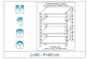 IN-18G4699060B Étagère avec 4 étagères lisses fixation par crochet dim cm 90x60x180h