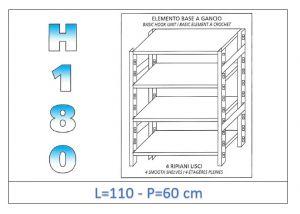 IN-18G46911060B Étagère avec 4 étagères lisses fixation par crochet dim cm 110x60x180h
