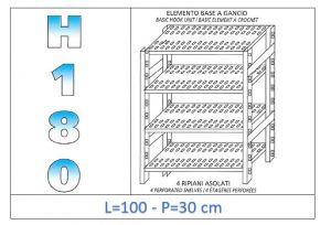 IN-18G47010030B Étagère avec 4 étagères à fentes fixation par crochet dim cm 100x30x180h