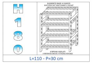 IN-18G47011030B Étagère avec 4 étagères à fentes fixation par crochet dim cm 110x30x180h
