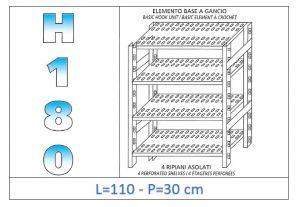 IN-18G47011030B Scaffale a 4 ripiani asolati fissaggio a gancio dim cm 110x30x180h