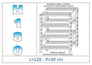 IN-18G47012030B Étagère avec 4 étagères à fentes fixation par crochet dim cm 120x30x180h