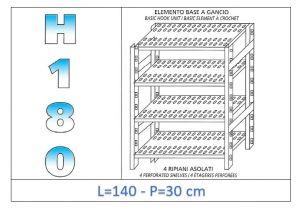 IN-18G47014030B Étagère avec 4 étagères à fentes fixation par crochet dim cm 140 x30x180h