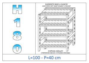 IN-18G47010040B Étagère avec 4 étagères à fentes crochet de fixation dim cm 100x40x180h
