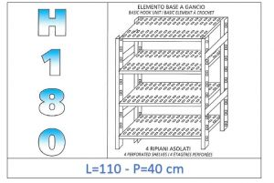 IN-18G47011040B Scaffale a 4 ripiani asolati fissaggio a gancio dim cm 110x40x180h