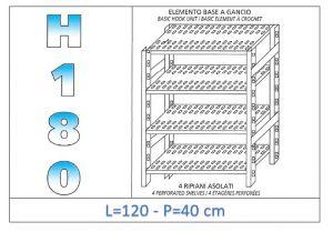 IN-18G47012040B Étagère avec 4 étagères à fentes fixation par crochet dim cm 120x40x180h