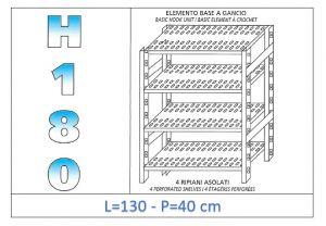 IN-18G47013040B Étagère avec 4 étagères à fentes fixation par crochet dim cm 130x40x180h